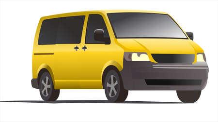 Yellow minivan, three quarter view. Minibus. Work car.
