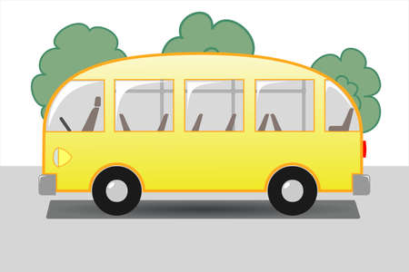Yellow bus with seats and handrails on the background of trees, side view. Illustration