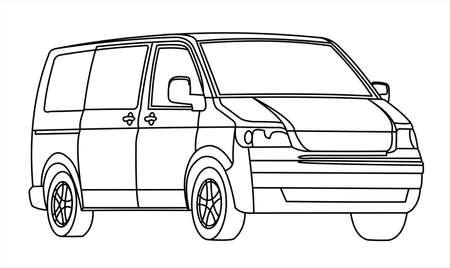 Minivan, three quarter view. Minibus. Work car. Car for a large family. Passenger Transportation. Modern flat vector illustration. Illusztráció