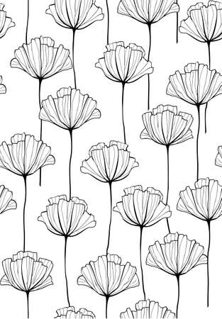 Vector outlined hand drawn flowers seamless pattern.  イラスト・ベクター素材