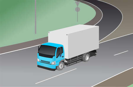 truck, three-quarter view, against the background of the road junction. Freight transportation. Modern flat vector illustration isolated.