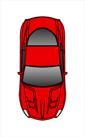 Red Car, Top view. Fast Racing car. Modern flat Vector illustration on white background. Illusztráció