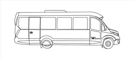Outline Bus, Side view. Tourist bus. Sightseeing bus. Modern flat Vector illustration on white background.