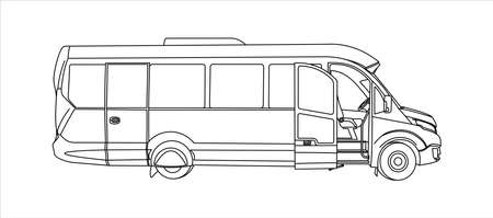 Outline Bus with an open door, Side view. Tourist bus. Sightseeing bus. Modern flat Vector illustration on white background.