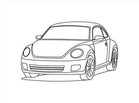 Small Car, Front view, Three quarter view. Contour Image Of A Rounded Car. Compact City Car. Coloring Book Page. Vector Image Isolated On a White Background.