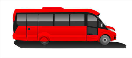 Red Bus, Side view. Tourist bus. Sightseeing bus. Modern flat Vector illustration on white background. Illusztráció