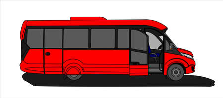 Red Bus with an open door, Side view. Tourist bus. Sightseeing bus. Modern flat Vector illustration on white background. Illusztráció