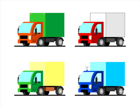 Set of stylized vector small trucks of different colors. Truck with an antenna. Flat vector image on a white background. Illustration for children, logo, poster.
