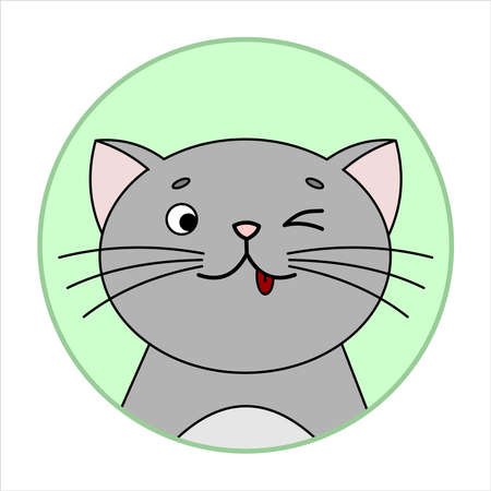 Cute Surprised Cat, Round Icon, Emoji. Gray Cat With A Whiskers, Smiles, shows tongue, teases. Vector Image Isolated On A White Background. Illusztráció