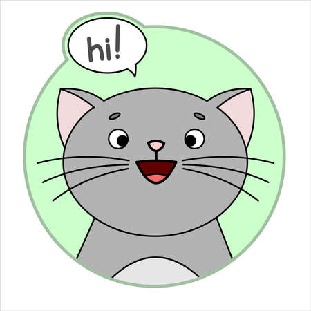 Cute Cat, Round Icon, Emoji. Gray Cat With A whiskers Smiles, says hi! Cloud talk, Bubble Speech. Lettering, Handwritten Word hi. Vector Image Isolated On A White Background.