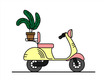 vector retro scooter with a trunk, with a flower in the trunk; vintage stylish moped for a girl; scooter for delivery; isolated on a white background; poster for a nursery. Illusztráció