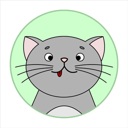 Cute Surprised Cat, Round Icon, Emoji. Gray Cat With A Whiskers, Smiles, shows tongue. Vector Image Isolated On A White Background.