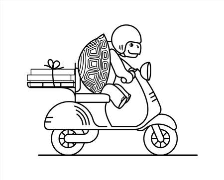 outline turtle is riding a scooter; slow delivery; a cute turtle in a helmet carries boxes on a moped; symbol of slowness; coloring book page.