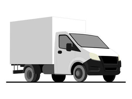 vector white lorry, isolated on a white background; three quarter view; car template for advertising; small truck.
