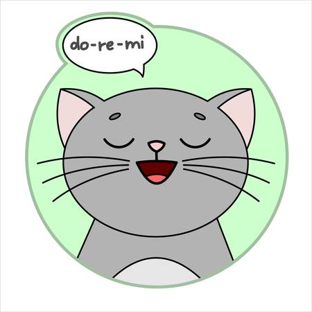 Cute Cat, Round Icon, Emoji. Gray Cat With A Mustache Smiles, Singing Do-re-mi. Cloud Conversation, Bubble Speech. Lettering, Handwritten Word do re mi. Vector Image Isolated On A White Background.