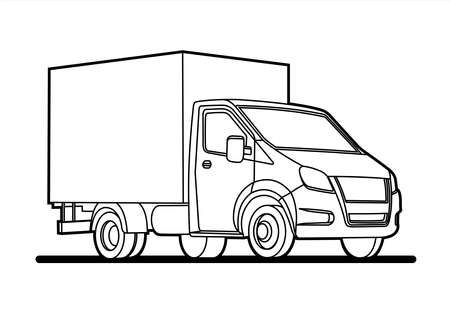 vector outline lorry; isolated on a white background; three quarter view; car template for advertising; small truck; for coloring book page