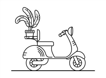 vector retro scooter with a flower in the trunk; vintage stylish moped; scooter for delivery; isolated on a white background; coloring book page.