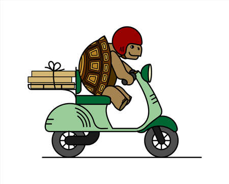 turtle is riding a scooter; slow delivery; cute turtle in a helmet carries boxes on a moped; cardboard boxes; symbol of slowness; modern flat vector illustration isolated on white background. Illusztráció