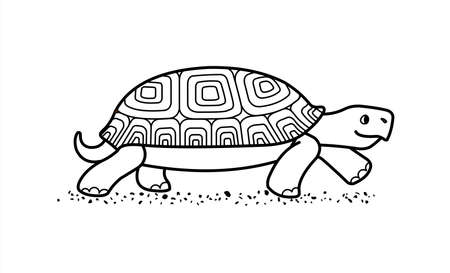 outline vector cute land tortoise with patterned shell, side view; isolated on a white background; symbol of slowness; contour turtle; for coloring book page