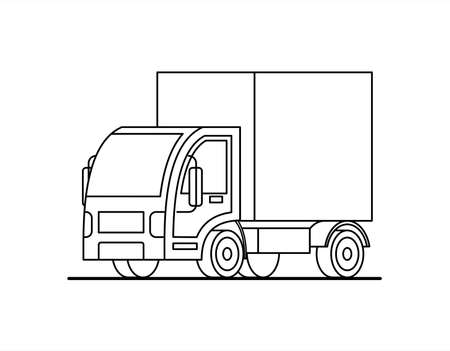 Outline, contour stylized vector small truck. Truck for coloring book page. Illustration for children