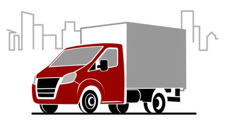 Vector Stylized Lorry On The Background Of The City, The Contour Of The Buildings, The Line Of The Urban Landscape, Three Quarters View. Car Template For Advertising. A Small Truck With A Red Cab.