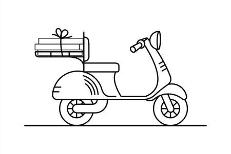 vector retro scooter with a trunk; vintage stylish moped; scooter for delivery; isolated on a white background; coloring book page.