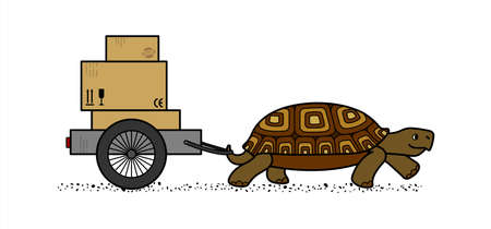 Side View Of A Vector Cute Land Turtle Carrying A Cart With Boxes. Cardboard Boxes With Marking. Slow Delivery. Isolated On A White Background. Symbol Of Slowness
