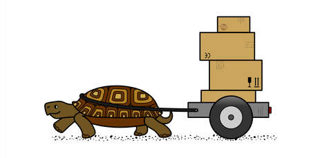 vector cute land turtle carrying a cart with boxes, side view; cardboard boxes with marking; slow delivery; isolated on a white background; symbol of slowness
