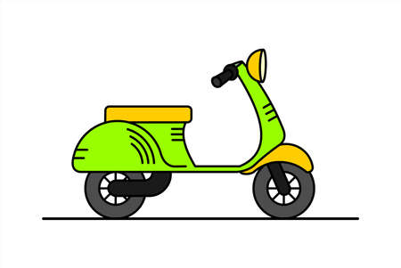 vector retro scooter; vintage stylish moped; scooter for delivery; isolated on a white background
