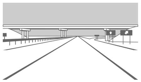 Overpass. Road Junction. The Road Goes Under The Bridge. Elevated Road. Stylized Vector Image. Illusztráció