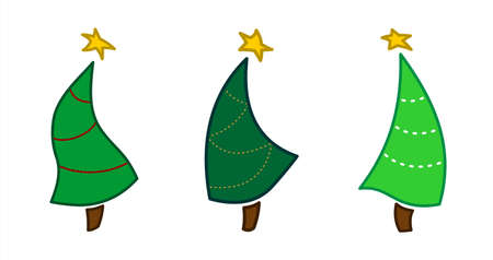 3 Dancing Christmas Trees With Stars. New Year, Christmas. Green Spruce Isolated On A White Background. For Decoration, Textile, Fabric, Greeting Card, Postcards. Vector Image.