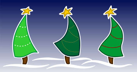 3 Dancing Christmas Trees With Stars On A Blue Background With Snowdrifts. New Year Christmas. For Decoration, Greeting Cards, Scrapbooking. Vector Image.