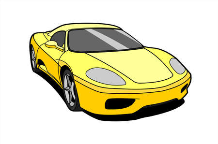 Yellow Car, Side view, Three-quarter view. Fast Racing car. Sport car. Modern flat Vector illustration on white background. 스톡 콘텐츠 - 138436711