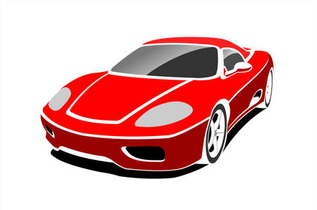 Red Stylized Car, Side view, Three-quarter view. Fast Racing car. Sport car. Modern flat Vector illustration on white background.