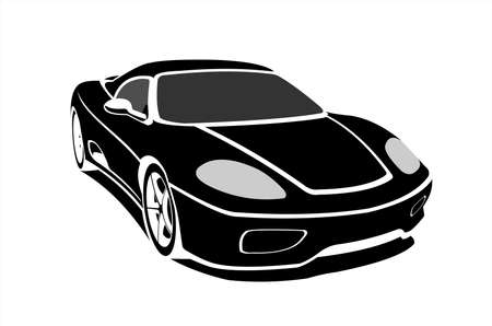 Black Stylized Car, Side view, Three-quarter view. Fast Racing car. Sport car. Modern flat Vector illustration on white background.