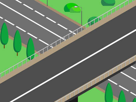 Isometric city bridge; landscape 3d route; vector image of the road. Transport road, street, viaduct or high-speed track, overpass, traffic intersection. The road passes under the bridge.