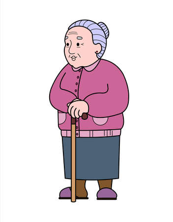 Vector old woman with a cane. Good old grandmother. Retiree, babushka. Elderly woman, senile people concept. Isolated on a white background. Illustration
