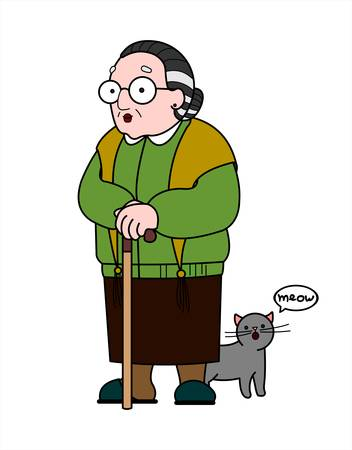 Vector old woman in a shawl with glasses and with a cane. Good old grandmother with a gray cute cat. Elderly woman, senile people concept. Babushka. Isolated on a white background.