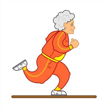 Vector De La Imagen De Una Anciana Corriente. La Anciana En Un Chándal, Zapatillas De Deporte. Anciana, concepto de pueblo senil, logotipo. Aislado sobre fondo blanco