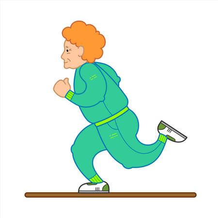 Vector Image Of A Running Old Woman. The Old Woman In A Tracksuit, Sneakers. Elderly Woman, Senile People Concept, Logo. Isolated on white background