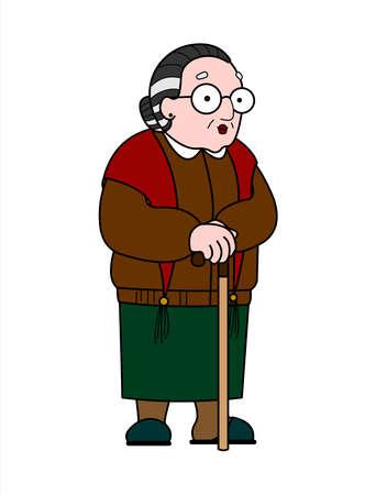 Vector alte Frau in einem Schal mit Brille und mit einem Stock. Gute alte Großmutter. Rentner, Babuschka. Ältere Frau, seniles Menschenkonzept. Isoliert auf weißem Hintergrund.