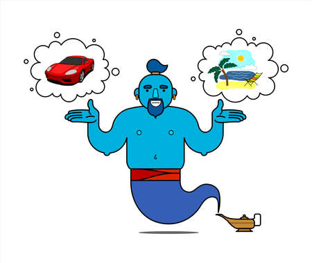 Blue genie from the lamp, cartoon character. The genie will easily fulfill any three wishes. I want a vacation on the sea, I want a cool car. Illustration, poster, isolated on a white background.