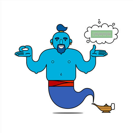 Blue genie from the lamp, cartoon character. The desire to be rich. The genie will easily fulfill any three wishes. Banknote - a symbol of wealth. Illustration, poster, isolated on a white background.