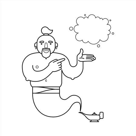 outline, contour genie from a lamp, cartoon character. For coloring book page. The genie will fulfill any three wishes. Draw a wish. Place for drawing. Isolated on a white background.