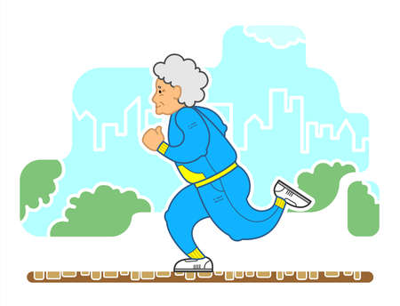 Vector Image Of A Running Old Woman In The Park. An Old Woman With Red Curly Hair, In A Tracksuit, In Sneakers. Elderly Woman, Senile People Concept. Illustration