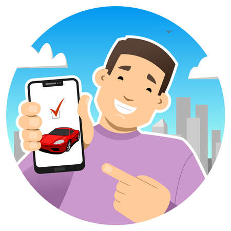 Smiling guy with a phone. Shows the phone screen, points to it with a finger. Bought a car or sold. Red sports car on the phone screen. Round icon.