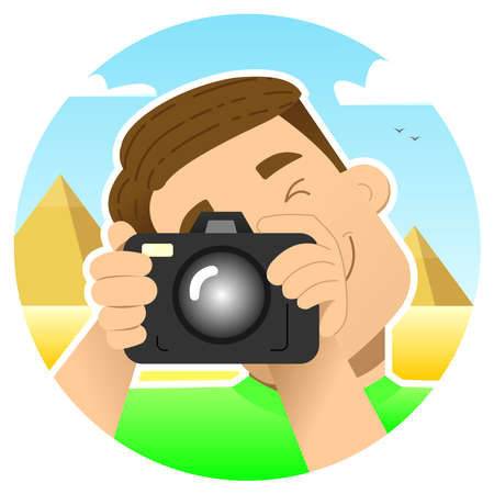tourist, traveler; smiling guy with a camera on an excursion in Egypt, against the background of the pyramids; photographs by squeezing 1 eye