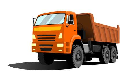 large dump truck with orange cab and orange body. Three quarter view. Illustration