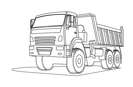 Contour large dump truck. For coloring book page. Three quarter view. Vetores
