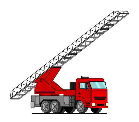 Cartoon red fire truck with ladder up car sticker for boys. Flat vector illustration of water engine car for scrapbook, for textiles. Cartoon car with ladder up.